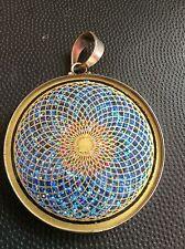 "Sunflower Tourmaline 1 5/8"" Medallion Pendant Sterling Silver Mystical Necklace"