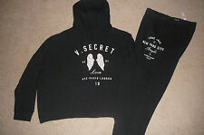 New Victoria's Secret large black lounge set Angle wings zip hoodie gym pants