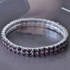 Purple 2 Row Around Swarovski crystal 9k White Gold Filled Womens Bracelet F5335