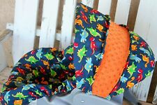 bright Dinosaurs w/ orange minky infant carseat cover and hood / canopy cover