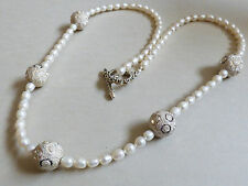 Handcrafted silver tone disco ball beads metal white pearl necklace toggle clasp