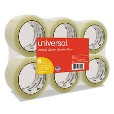 """Universal Box Sealing Tape, 2"""""""" x 110yds, 3"""""""" Core, Clear, 6/Pack UNV63120"""
