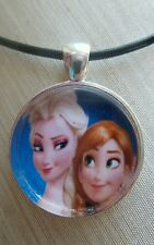 """ Disney's Frozen Sisters ELSA & ANNA "" Glass Pendant with Leather Necklace"