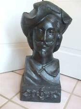Antique Old Spanish Conquistador Statue Bust Figure Black Cast Iron