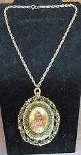Vintage Signed Fragonard Porcelain Cameo Couple Courting Necklace 24K Gold Plate