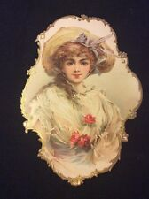 Vintage Victorian die cut paper, beautiful Lady from c 1880