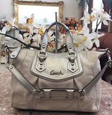 COACH ASHLEY IVORY/CREAM LEATHER CONVERTIBLE TRAVEL SATCHEL TOTE BAG F19247