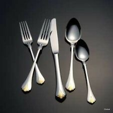 New Yamazaki Japan Cara Gold Accent Stainless Flatware 5 pc Placesetting