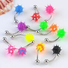 10x Mixed Steel Bar Koosh UV Ball 16g Navel Belly Button Rings Barbell Piercing