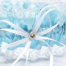 PERSONALISED Bow Satin Wedding Garter Lace Bridal Blue Satin Pretty for Wedding