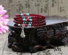 Handmade Red garnet bracelet Tibetan silver dangles and charm 4mm