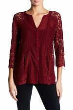Lucky Brand - L - NWT - Wild Currant Red Lace Mixed Media Knit Top Blouse