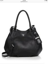 New Authentic $1790 Prada Daino Leather Satchel Bag Handbag Tote Hobo, Black
