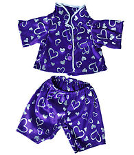 Dark Purple PJ's Hearts Teddy Bear Clothes Fit Most 14-18'' Build-A-Bear n More