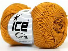 Lot of 6 Skeins Ice Yarns CAMILLA COTTON (100% Mercerized Cotton) Yarn Gold