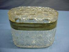 alte geschliffene Dose Glasdose Vorratsdose Zuckerdose  Deckel Metallmontierung