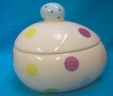 Candy Dish Easter Egg Covered Lid White with Polka-Dots Fresh Decor Large