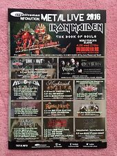 Iron Maiden Loudness Helloween Nightwish Dragonforce 2016 Japan Tour Flyer Rare