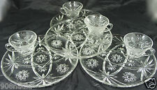 VINTAGE ANCHOR HOCKING GLASS EARLY AMERICAN PRESCUT SET SAUCER & CUP 8PC NIB