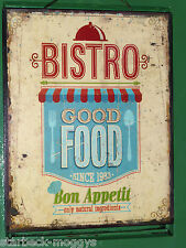 SHABBY VINTAGE BISTRO SIGN METAL WALL PLAQUE  KITCHEN CAFE GOOD FOOD