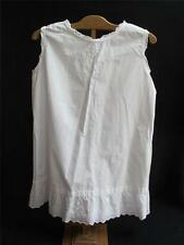 ANTIQUE VICTORIAN COTTON EMBROIDERED WHITEWORK GIRL'S PETTICOAT SLIP c1890