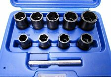 "Bergen 10pc 3/8"" Dr Impact Twist Socket Set 10mm - 19mm  Damaged Nut Bolt 1423"