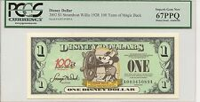 2002 $1 Steamboat Willie Disney Dollar PCGS 67 PPQ Disneyland A Series 100 Years