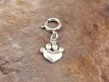 Sterling Silver Dog Paw Heart Charm -fits European and Link Charm Bracelets-0889
