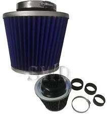Universal BLUE & chrome Twin Cone Intake Air Filter Induction Kit Mesh Sports