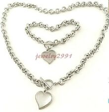 Women's Hot Selling Fashion Stainless Steel Heart Toggle Bracelet Necklace Set