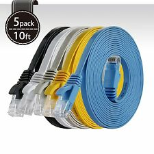 5 Pack 10ft CAT6 Snagless RJ45 Ethernet Network LAN Flat UTP Patch Router Cable