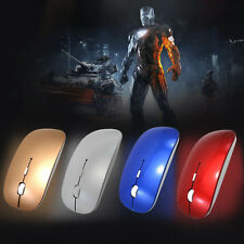 Wireless USB Optical Mouse + USB Receiver For Apple PC Laptop Macbook Gold