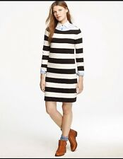 J.Crew Women's Maritime Knit Rugby Stripe Shift  Knit Dress- Size M Black/Cream
