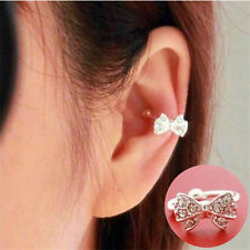Fashion Korean Women Bowknot Bow Rhinestone Crystal Ladies Ear Bone Clip Earring