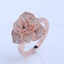 Solid 14k Rose Gold Semi Mount Setting Engagement Diamond Flower Ring Round6.5mm