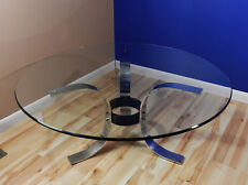 Mid Century Modern coffee table chrome metal stand glass top vtg