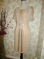 16 DRESS SOUTH VINTAGE 1920's NUDE DECO BEADED FLAPPER CHARLESTON GATSBY DOWNTON