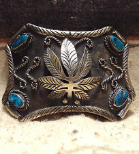 Vintage Nickel Silver And Turquoise Native American Belt Buckle Very Good Cond