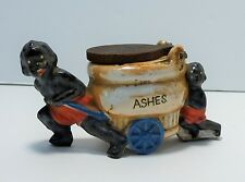 Antique Black Americana Flip-Lid Cigarette Ashtray 2 Figure Pushing Ash Bucket