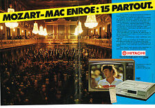 PUBLICTE  1981   HITACHI    Mozart- Mc Enroe  15 partout magnétoscope  (2 pages)