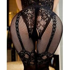 Sexy Lingerie Bodystocking Open Crotch Black Bodysuit Babydoll Erotic Fishnet