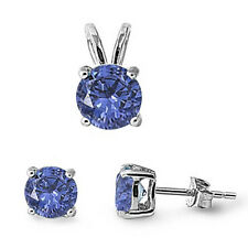 Round Tanzanite .925 Sterling Silver Pendant & Earrings Set
