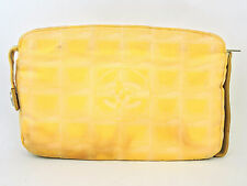 AUTHENTIC CHANEL CC YELLOW NEW TRAVEL LINE POUCH COSMETIC MAKEUP BAG VINTAGE