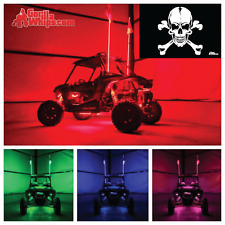 LED Lighted 6' Whip with WIRELESS Remote- ATV UTV RZR w/White Skull Flag