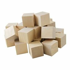 "30 Natural Unfinished  Wood 1"" Wood Blocks Square Cubes- Wood Crafts"