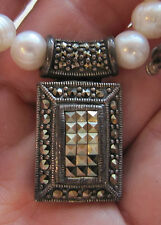 "Statement Sterling Heavy Marcasite Rectangle Pendant on Faux Pearl 17"" Necklace"