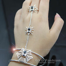 Silver Spider Bracelet Bangle Cuff Ring Web Slave Chain Hand Harness Costume