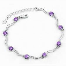 Women 925 Sterling Silver Amethyst White Topaz Gemstone Bracelet Bangle Jewelry