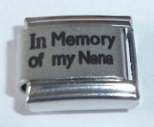 IN MEMORY OF MY NANA Italian Charm  With Sympathy I Love Gran fits 9mm Bracelets