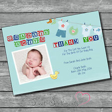 Pk 10 Personalised Photo Boy Christening Baby gift ThankYou Cards & envelopes s1
